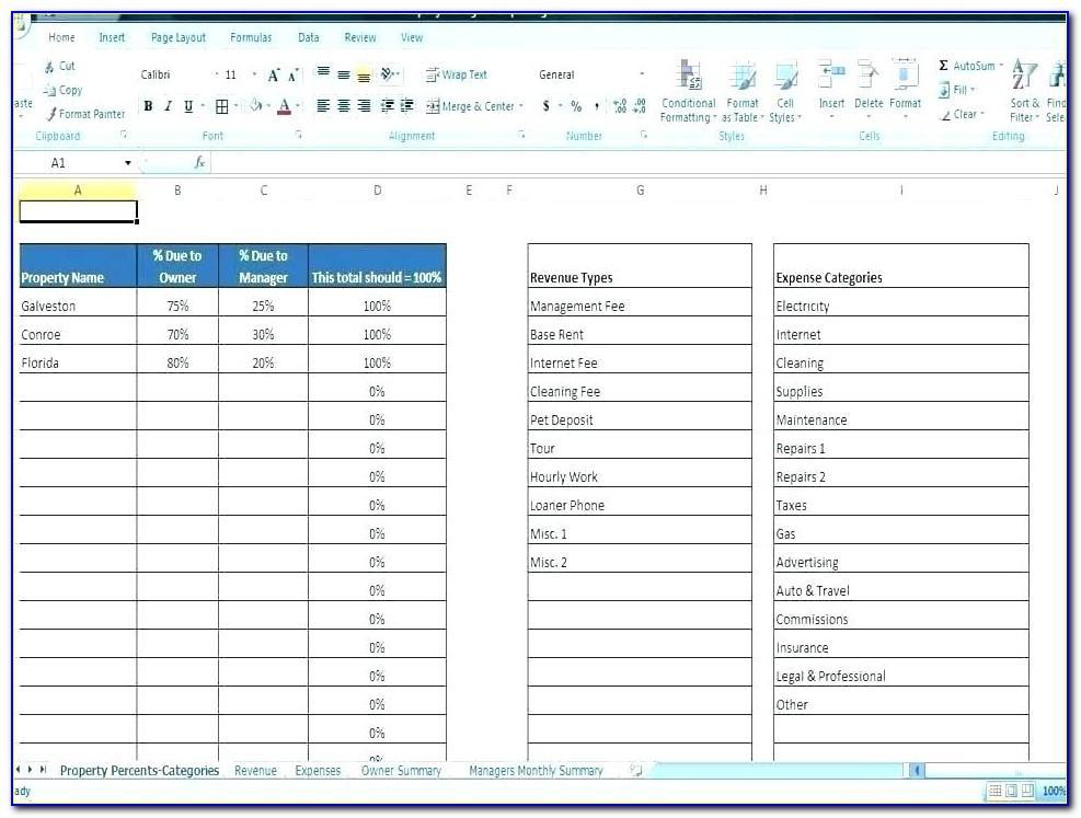 Rental Property Spreadsheet Template Nz