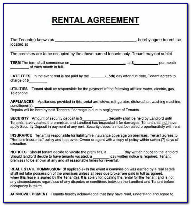 Renters Agreement Template