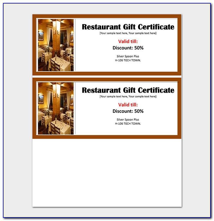 Restaurant Gift Certificate Examples