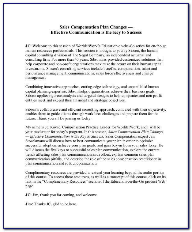 Sales Compensation Plan Example