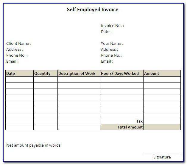 Self Employed Invoice Template Hours Worked