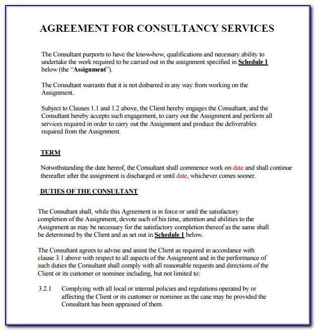 Short Consulting Agreement Template Uk