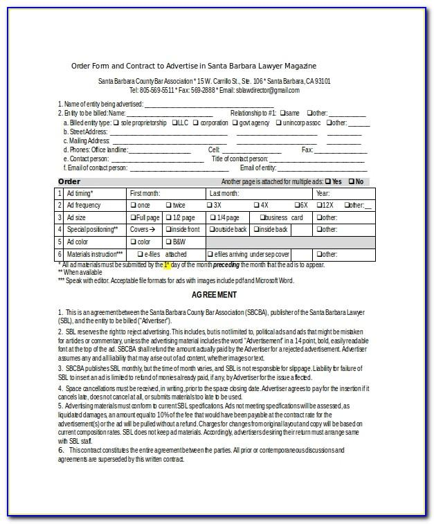 Simple Advertising Contract Template