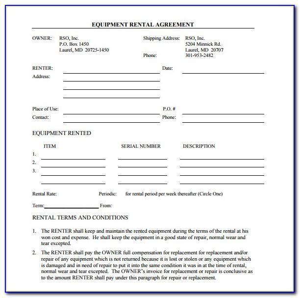 Simple Equipment Rental Agreement Template Free