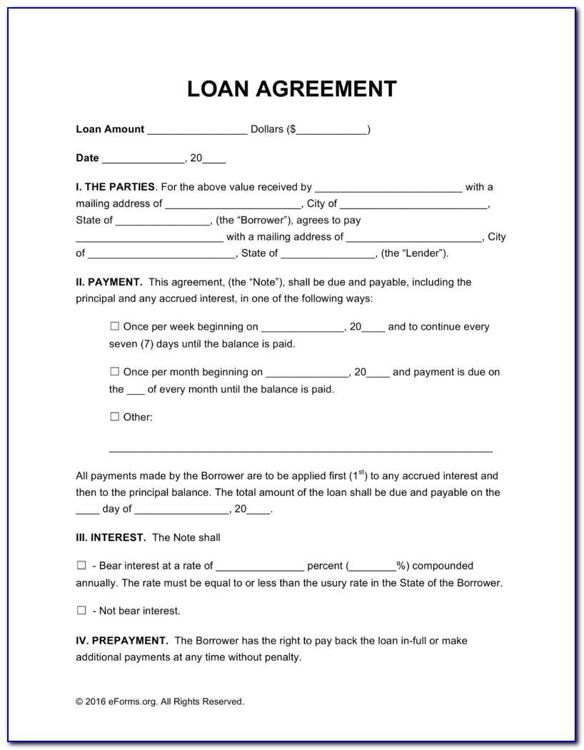 Simple Loan Agreement Template Between Friends
