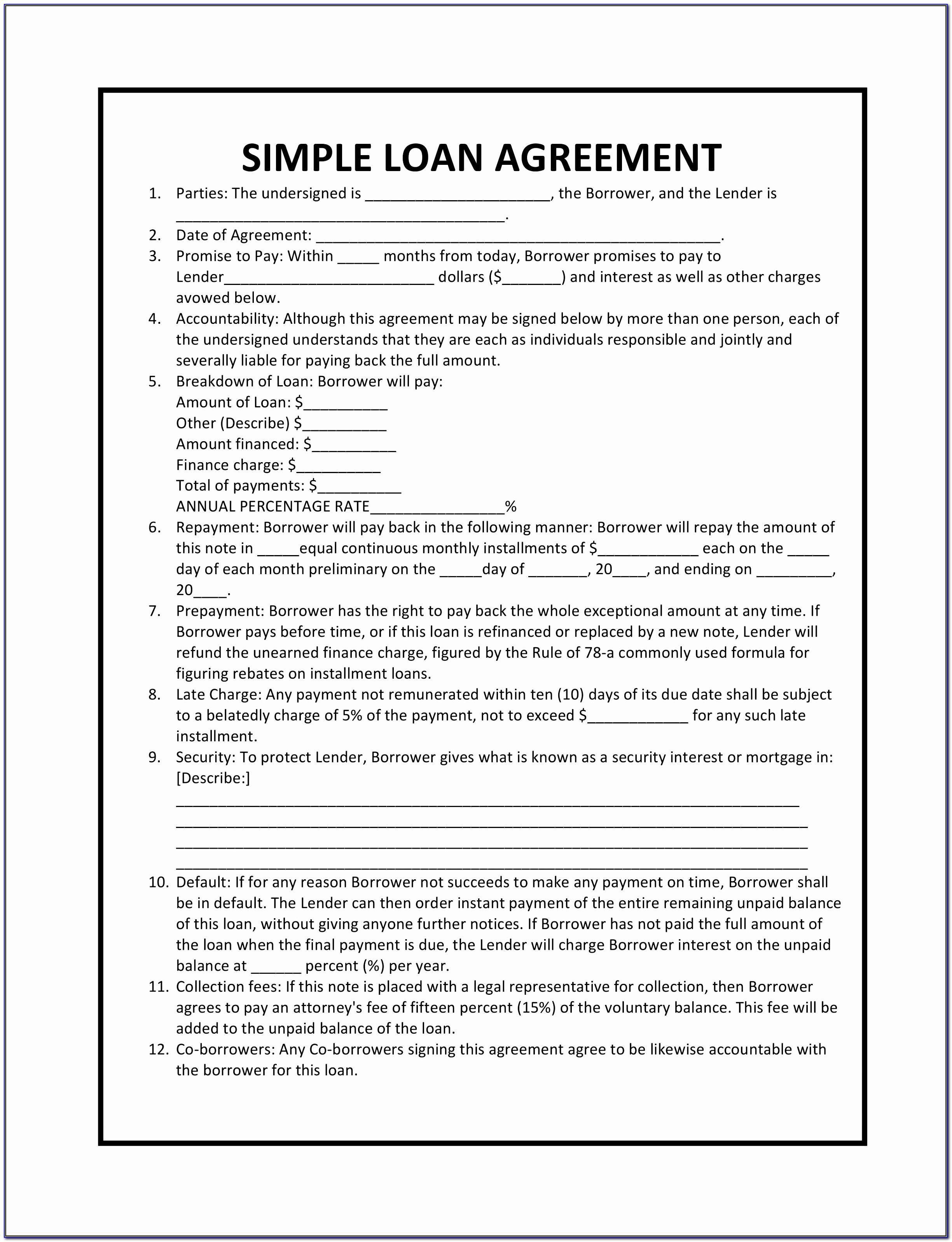 Simple Loan Agreement Template Singapore