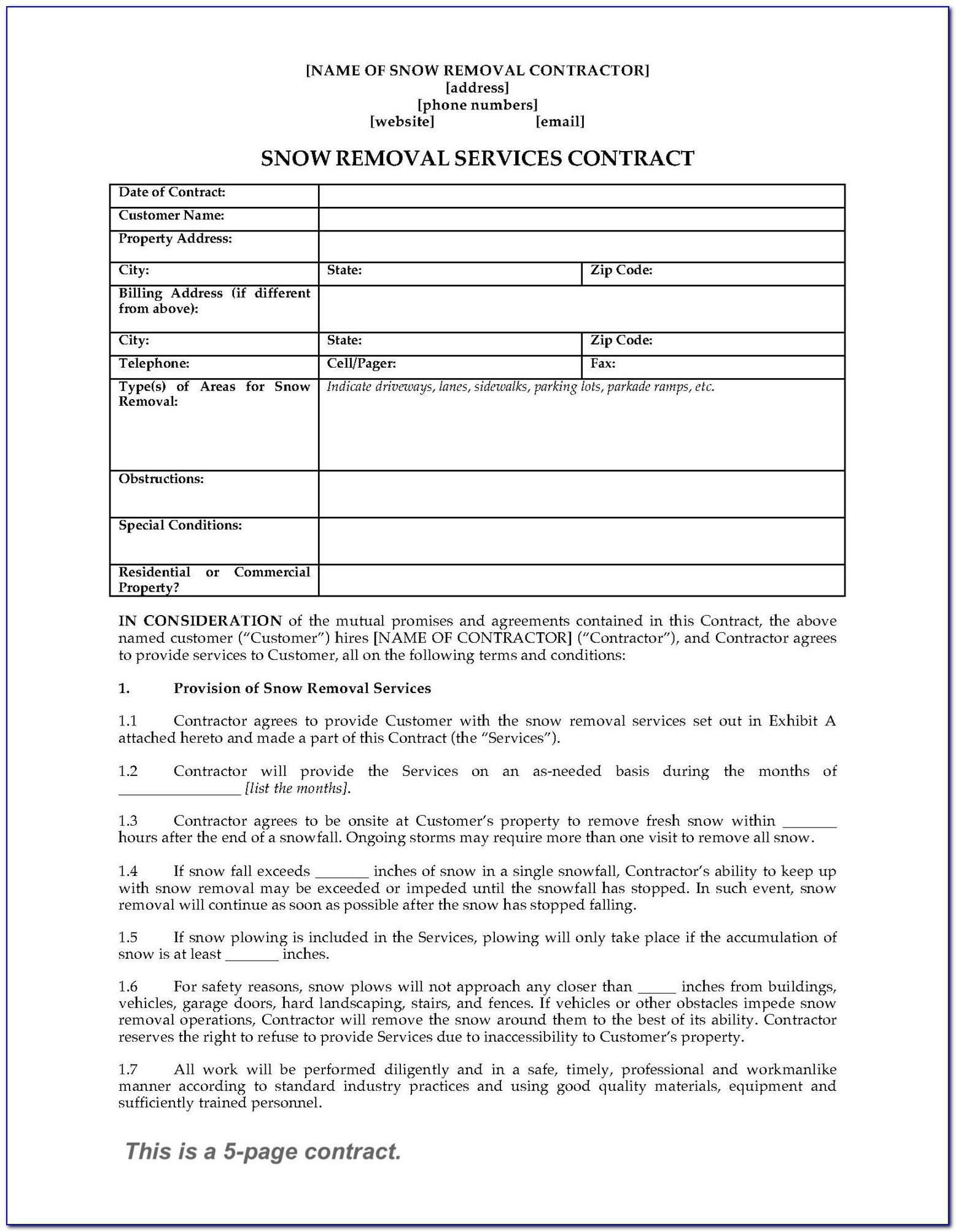Snow Removal Contract Forms