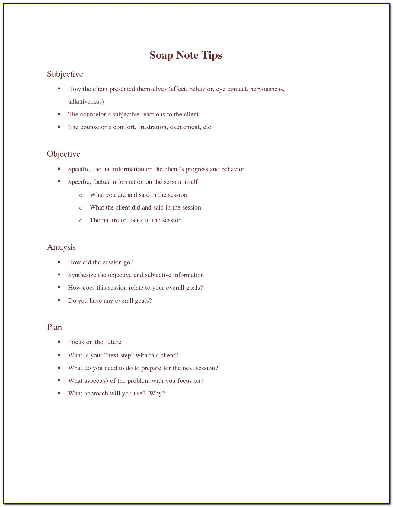Soap Note Template Counseling