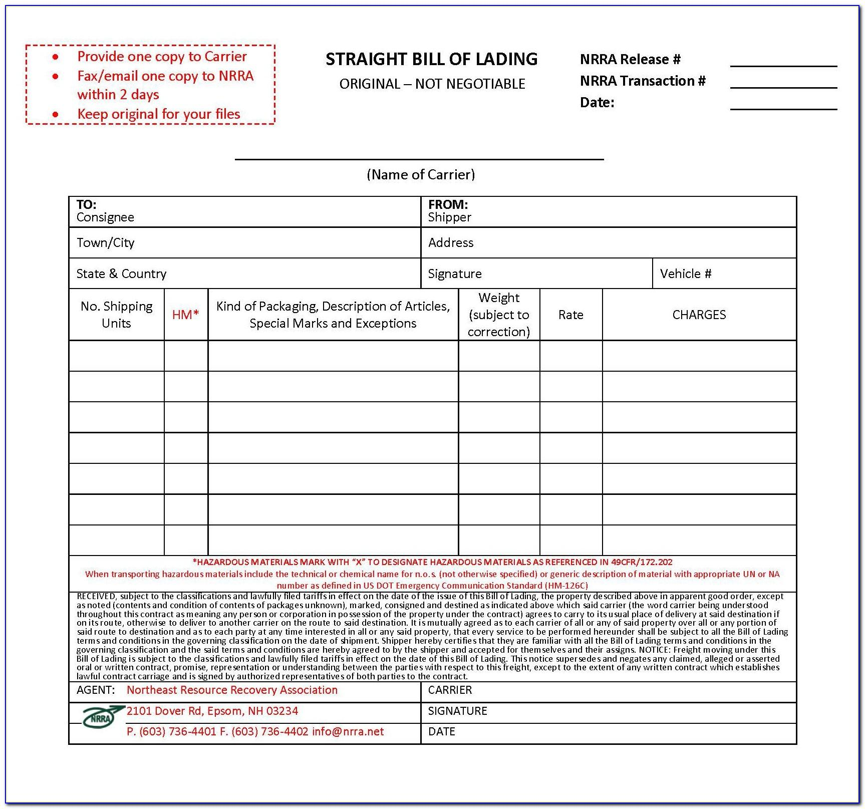 Straight Bill Of Lading Format