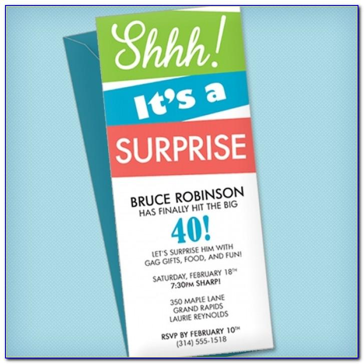 Surprise Birthday Party Invitation Cards