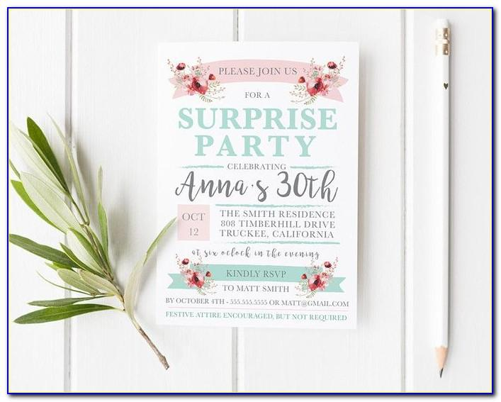 Surprise Party Invitation Cards