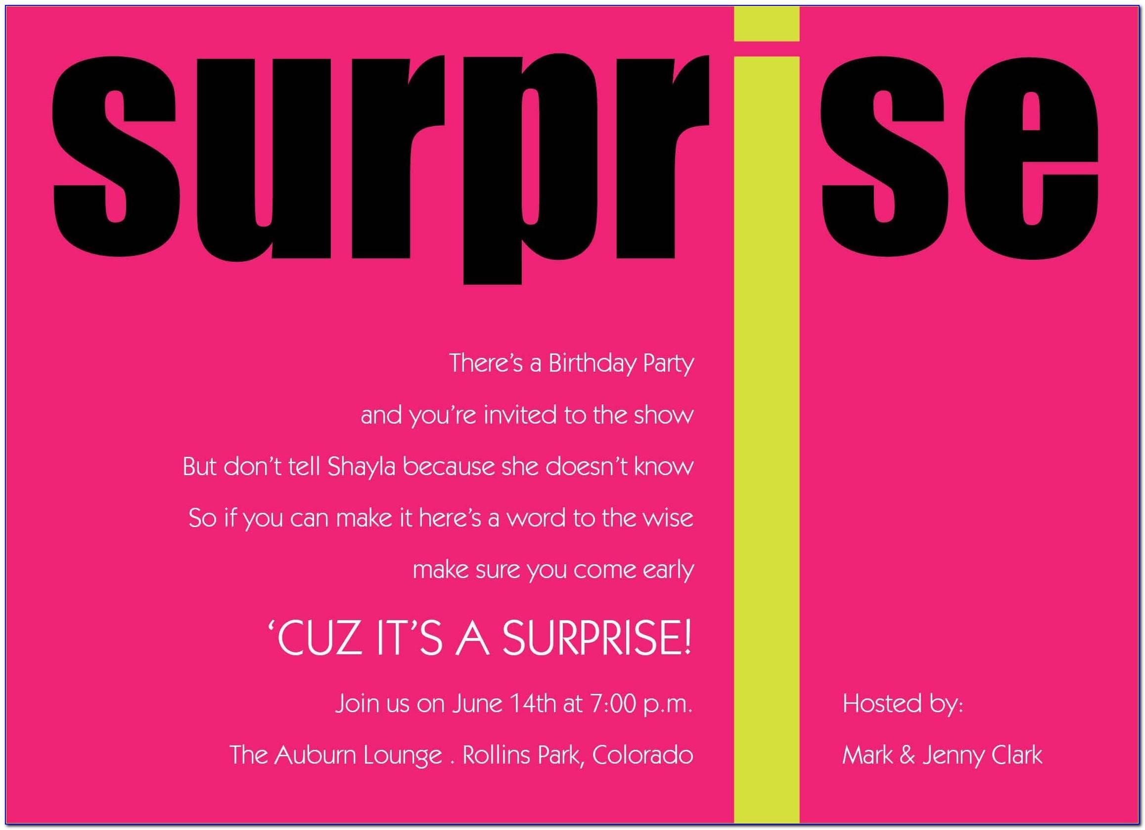 Surprise Party Invitation Designs