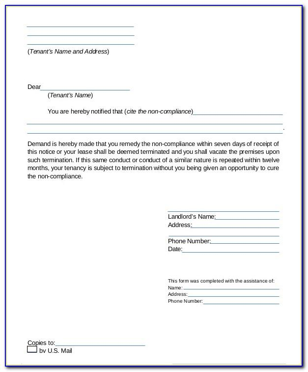 Termination Of Tenancy Agreement Template Letter