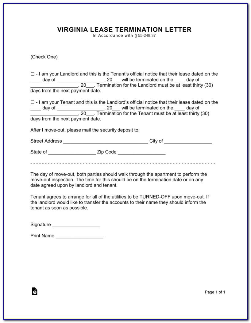 Termination Of Tenancy Agreement Template