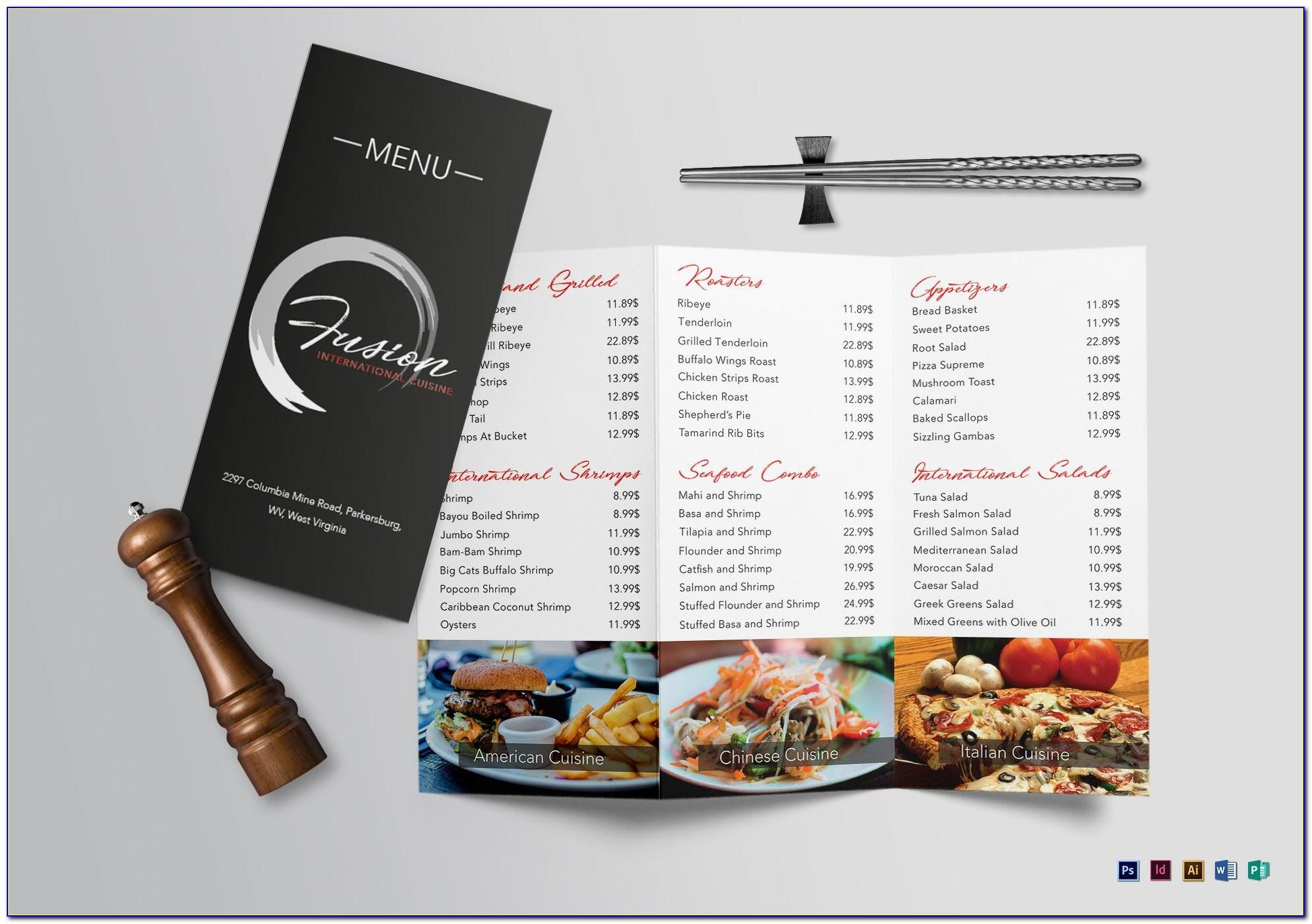Tri Fold Brochure Restaurant Cafe Menu Psd Template Free Download