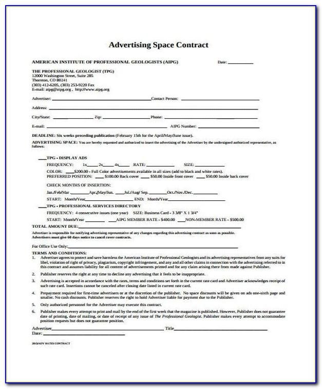 Tv Advertising Contract Template