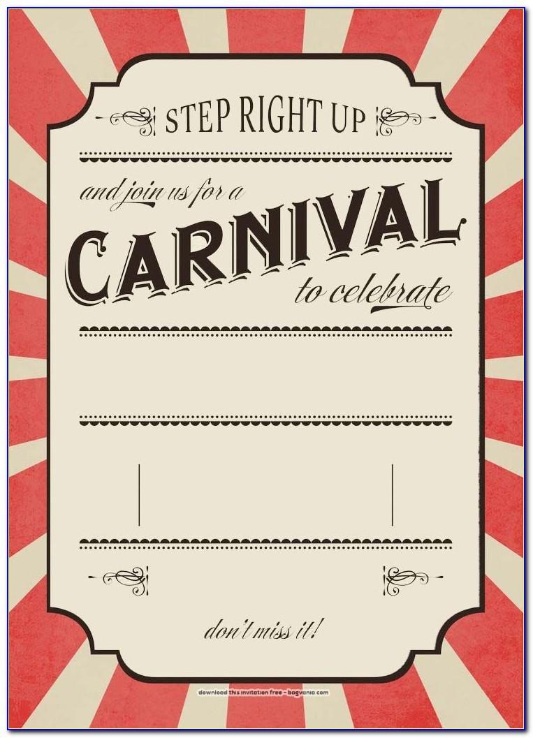 Vintage Carnival Invitation Template Free