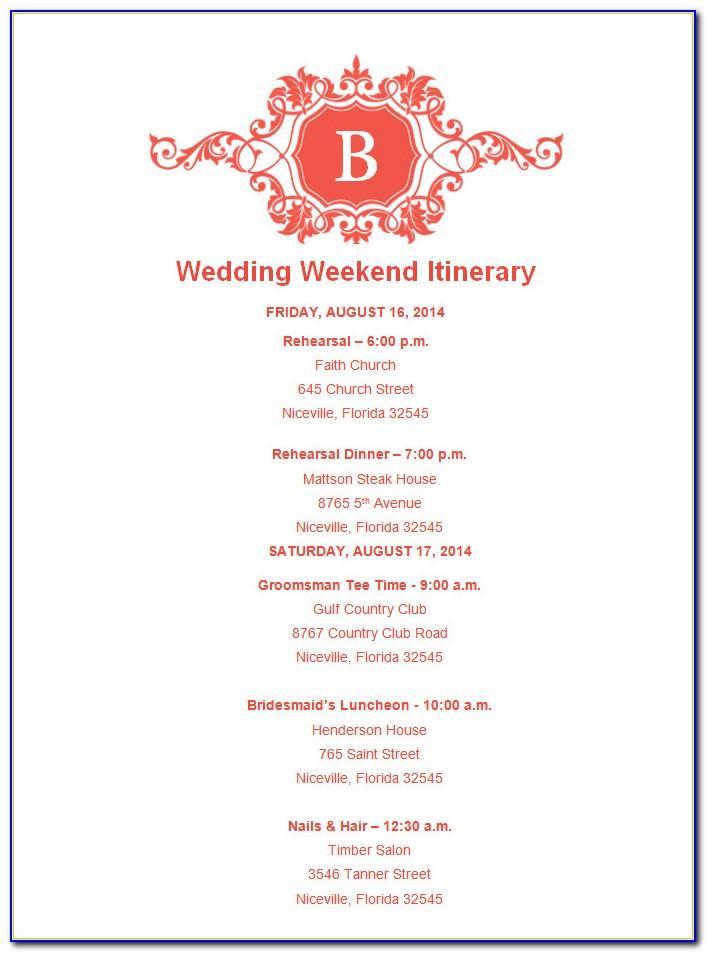 Wedding Agenda Format