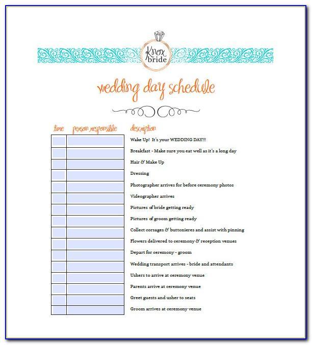 Wedding Agenda Template Word