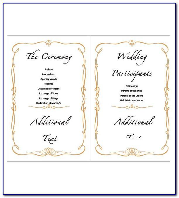 Wedding Ceremony Agenda Template