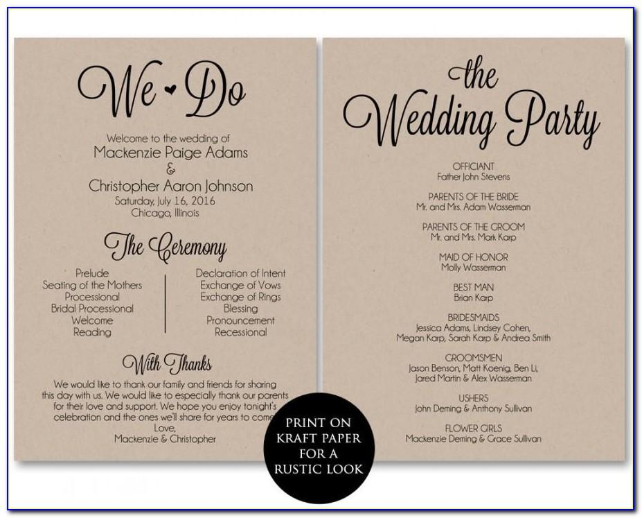 Wedding Ceremony Program Layout