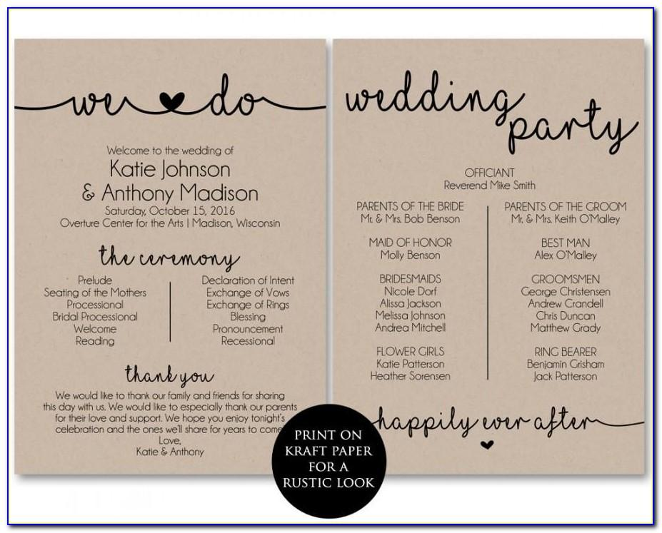 Wedding Ceremony Program Templates Ideas