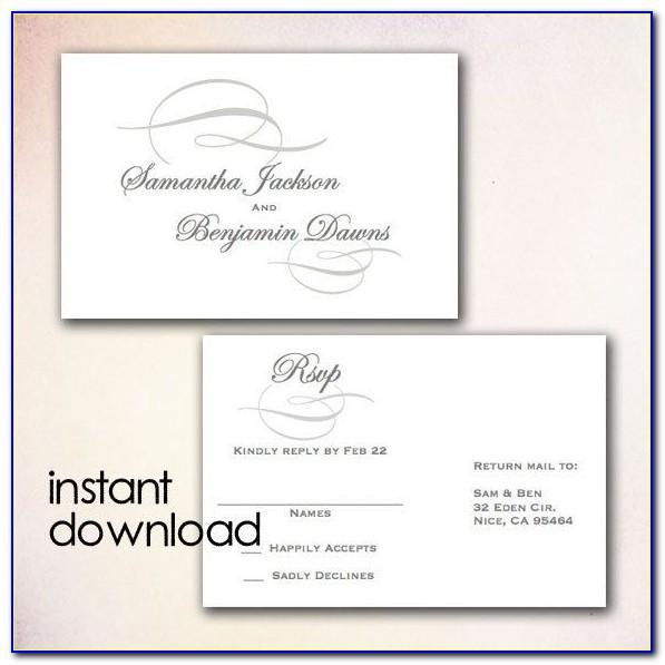 Wedding Invitation Rsvp Card Template