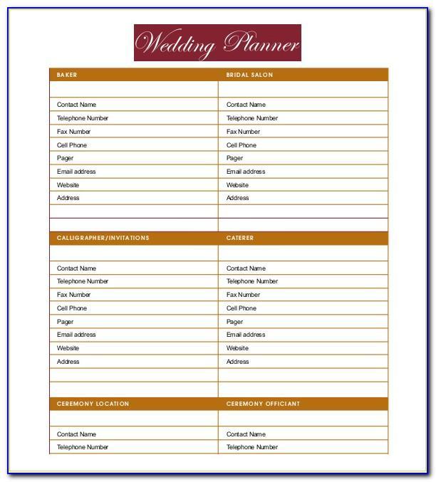 Wedding Reception Agenda Template