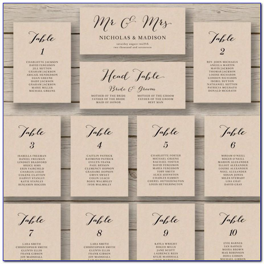 Wedding Seating Plan Template Word