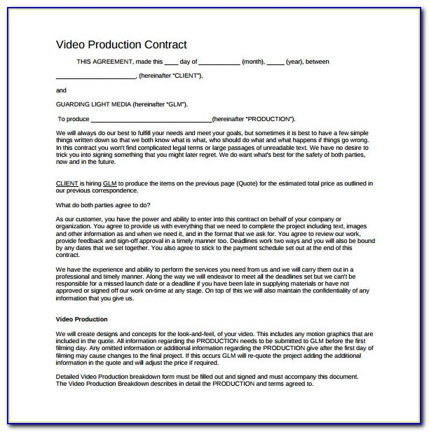 Wedding Videography Contract Template Word