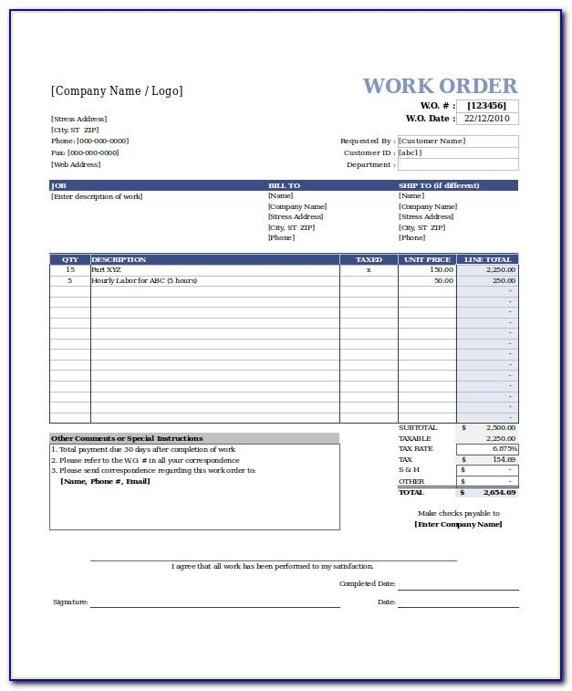 Work Order Template Excel Free