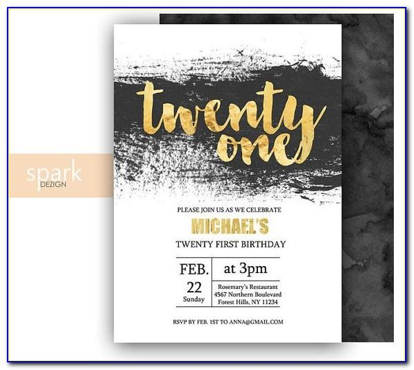 21st Birthday Invitation Templates Editable