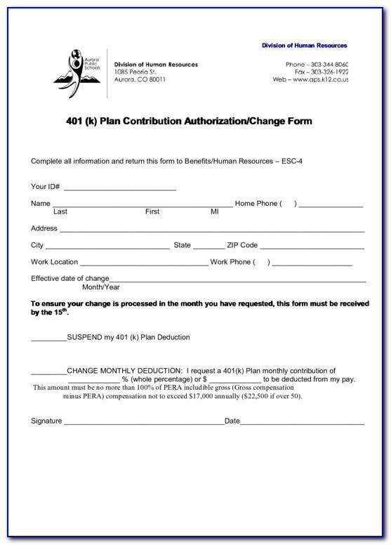 401 K Plan Document Template