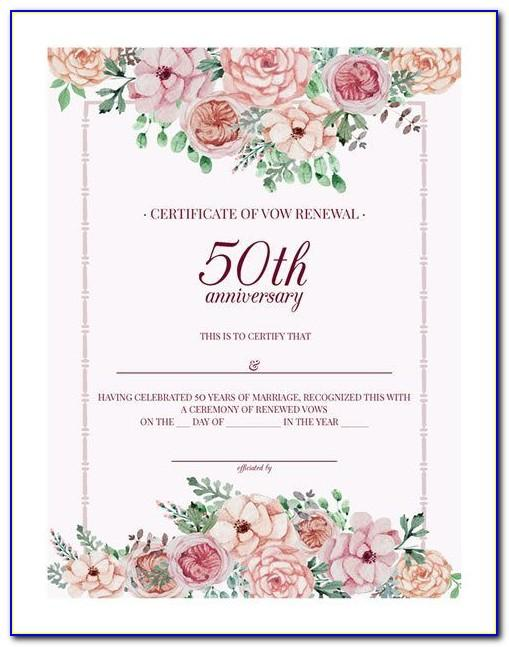 50th Wedding Anniversary Gift Certificate Template