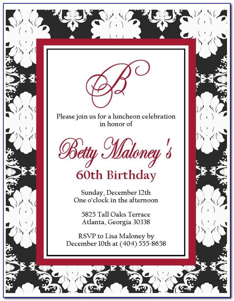 60th Birthday Invitation Wording For A Man