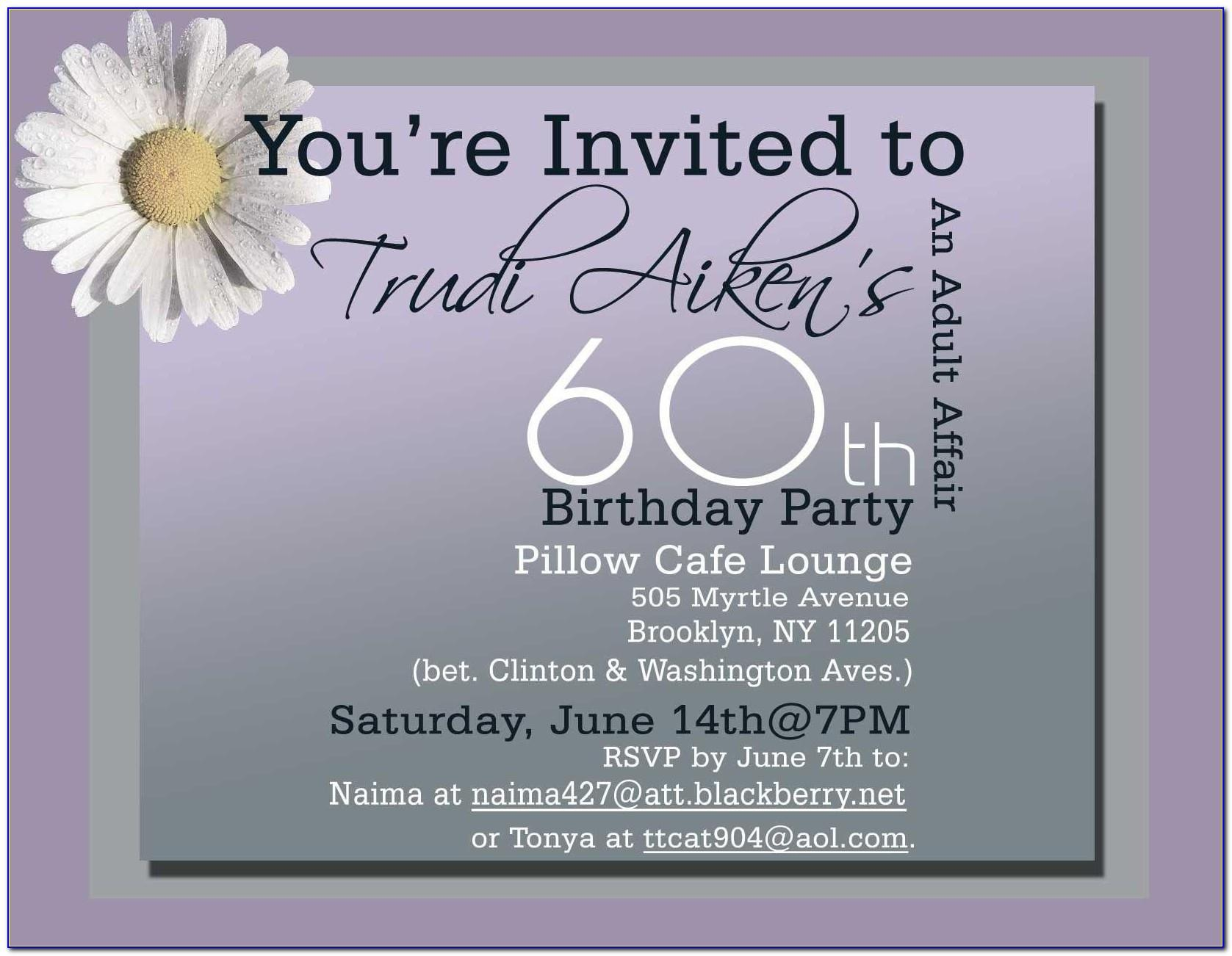 60th Birthday Invitation Wording For Her