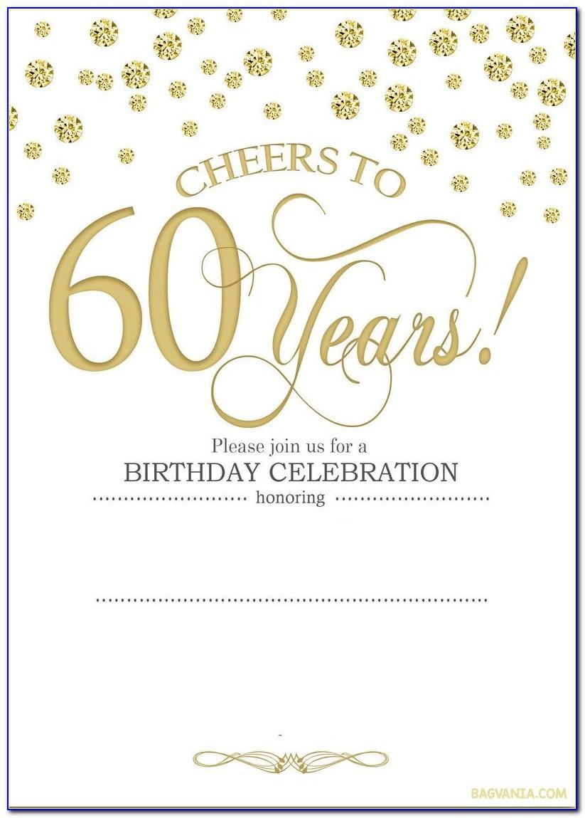 60th Birthday Invites Free Template