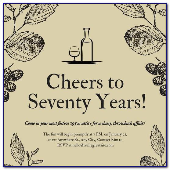 70th Birthday Invitation Template Word