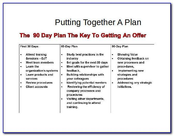 90 Day Business Action Plan Template