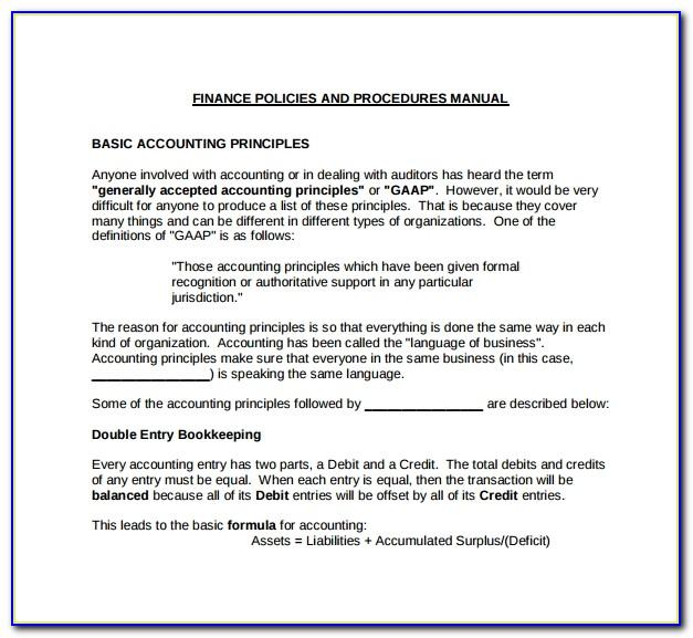 Accounting Policies And Procedures Template Free