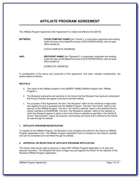 Affiliate Partnership Agreement Template