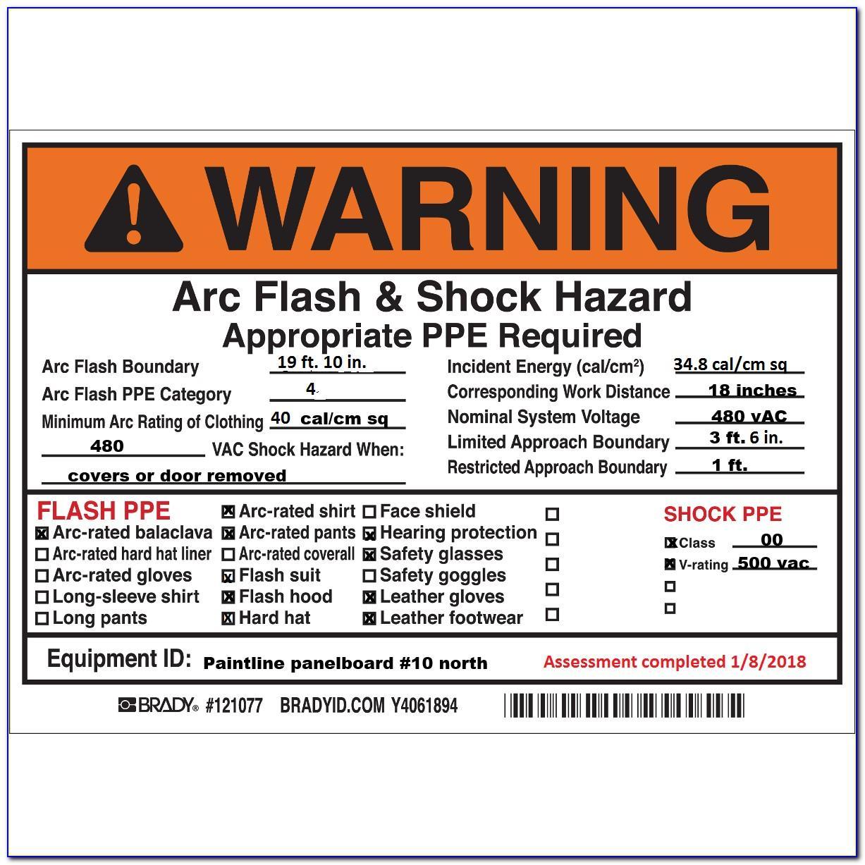 Arc Flash Hazard Label Template
