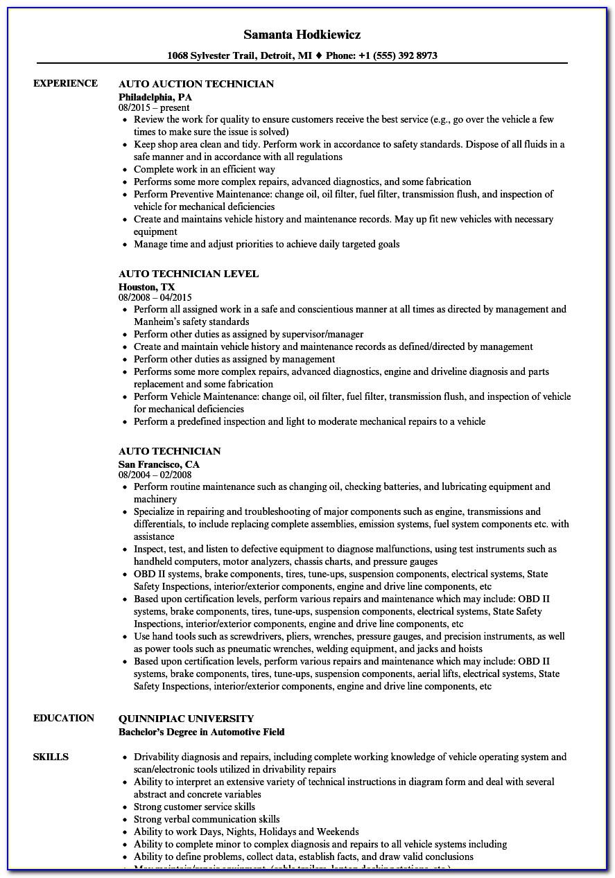 Automotive Service Technician Resume Template