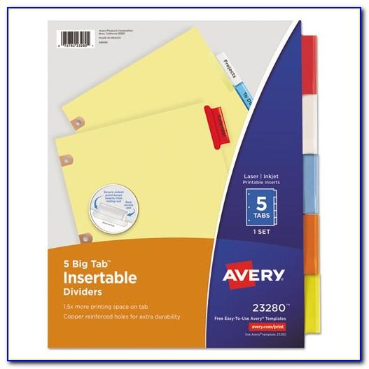 Avery Big Tab Inserts For Dividers 5 Tab Template