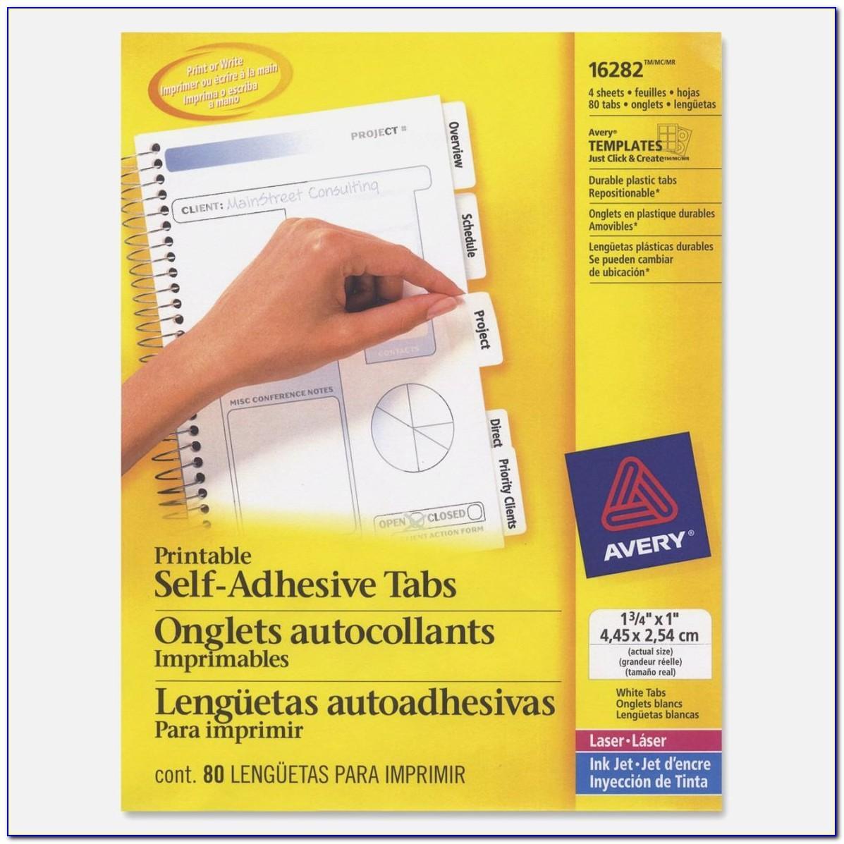 Avery Printable Tabs 16281 Template