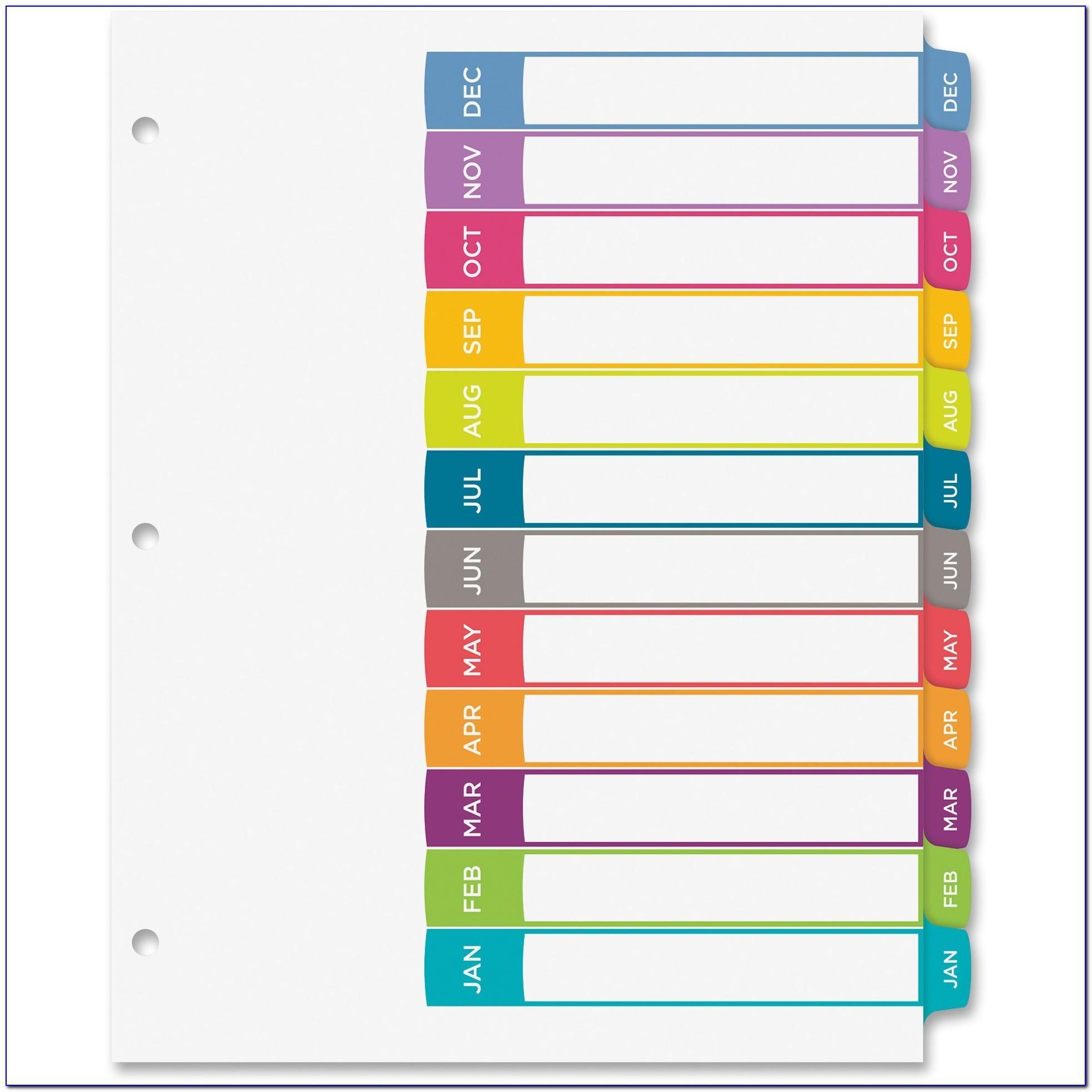 Avery Ready Index 12 Tab Color Template