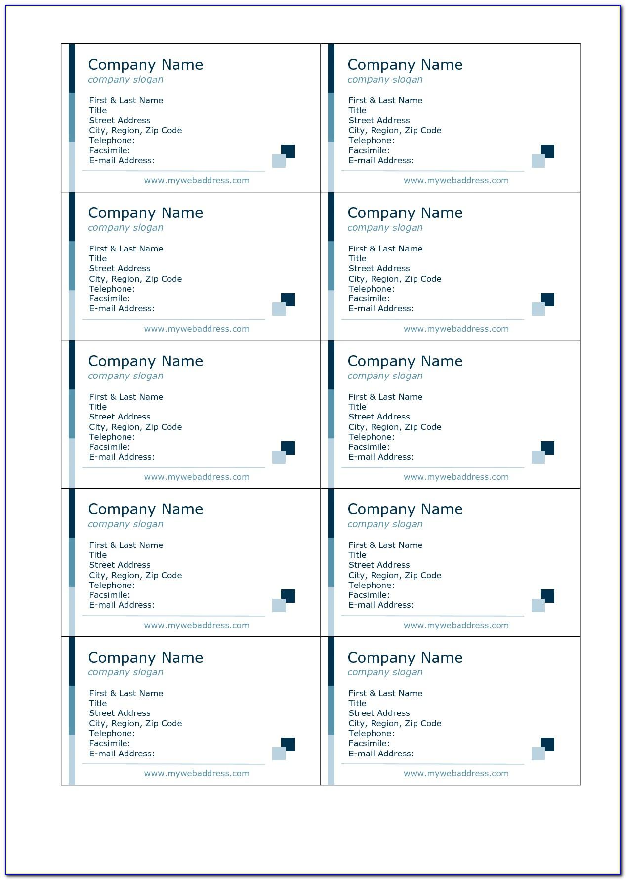 Avery Template 8371 Business Cards Microsoft Publisher