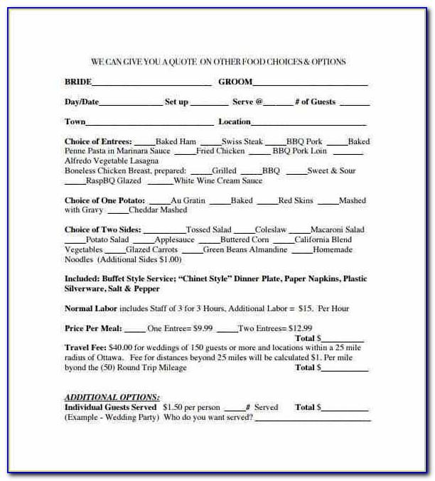 Banquet Contract Form