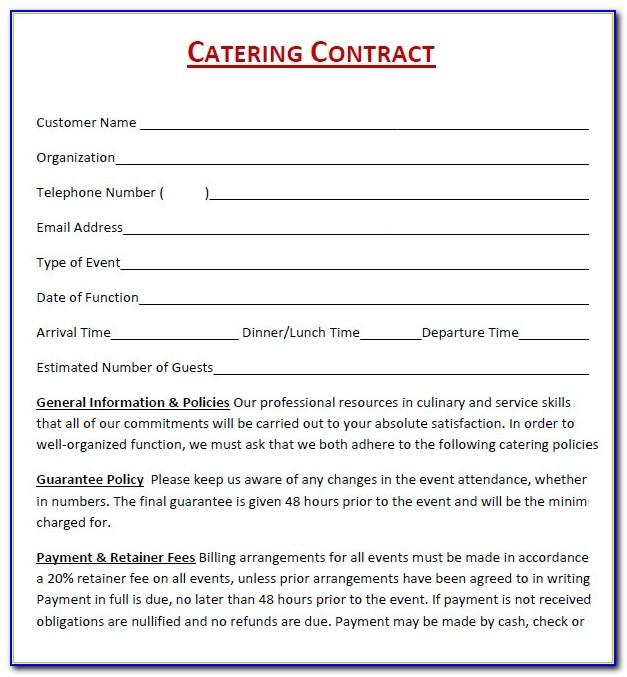 Banquet Contract Template