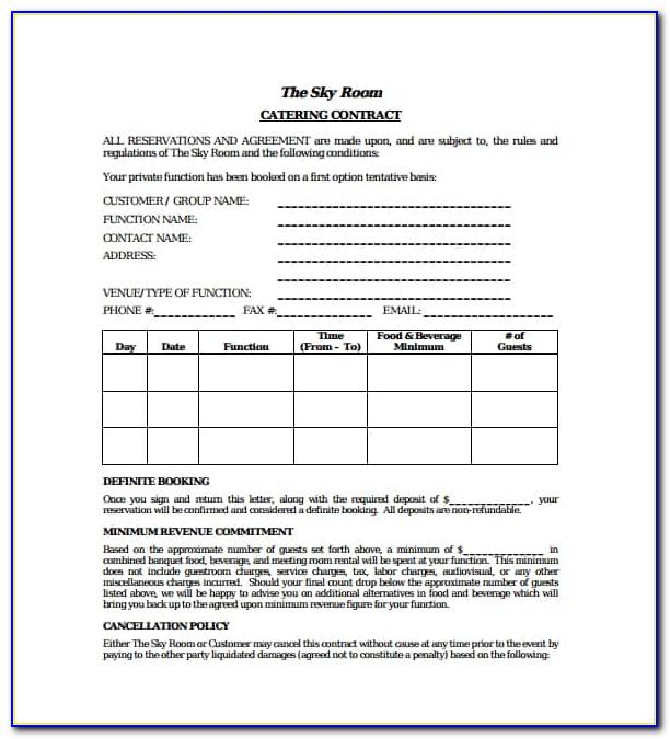 Banquet Room Contract Template